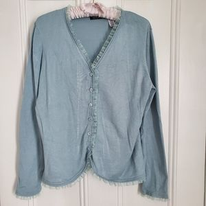 Blue Cardigan with Ruffle Hem